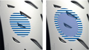 Bei Absenkung des Luftdrucks auf rennstreckentaugliche 2,1 bar vorne und 1,7 bar hinten (kalt) verspricht Michelin bis zu 52% mehr Auflagefläche