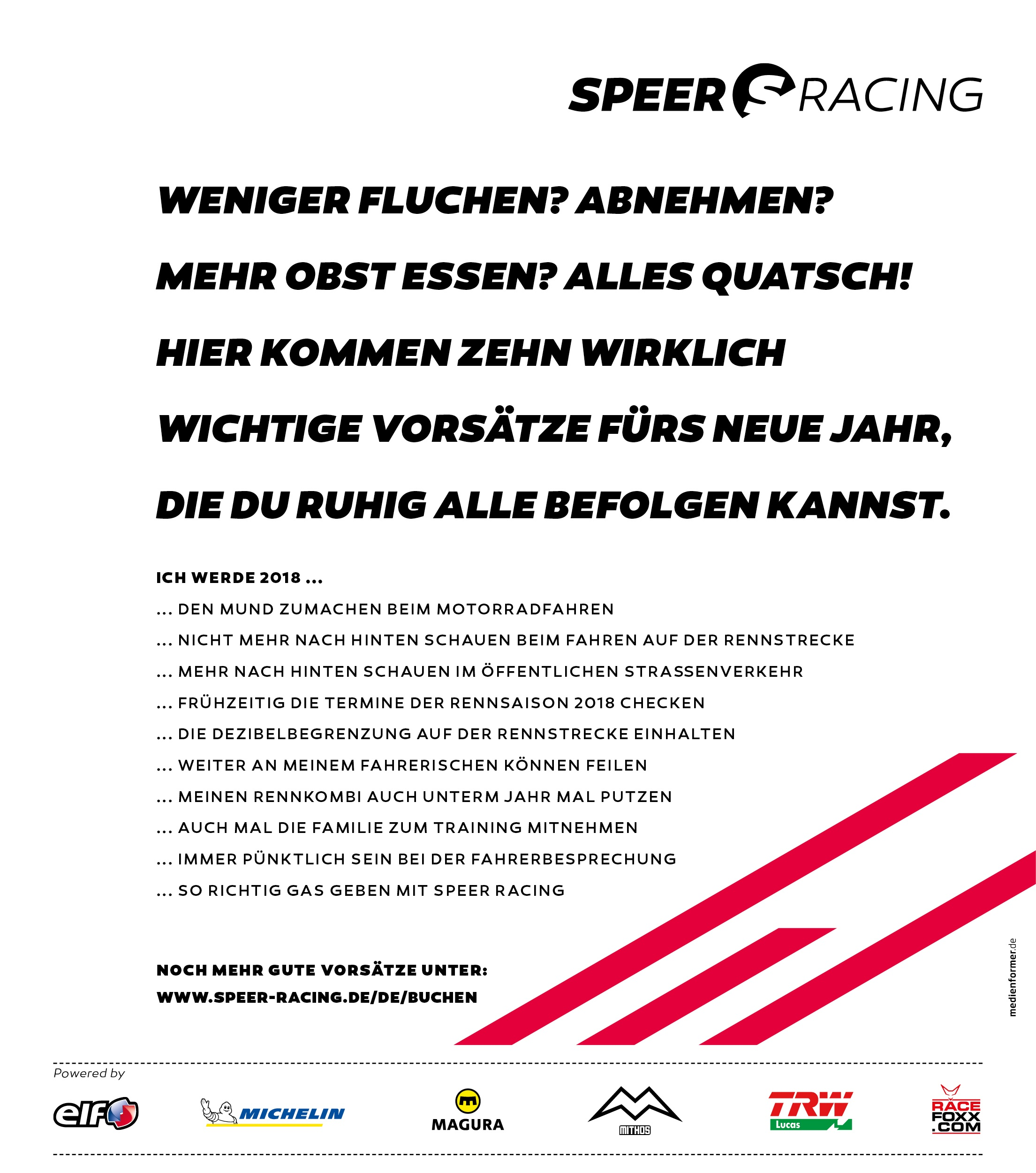 speer racing wirklich wichtige vors tze f r 2018 gaskrank magazin. Black Bedroom Furniture Sets. Home Design Ideas