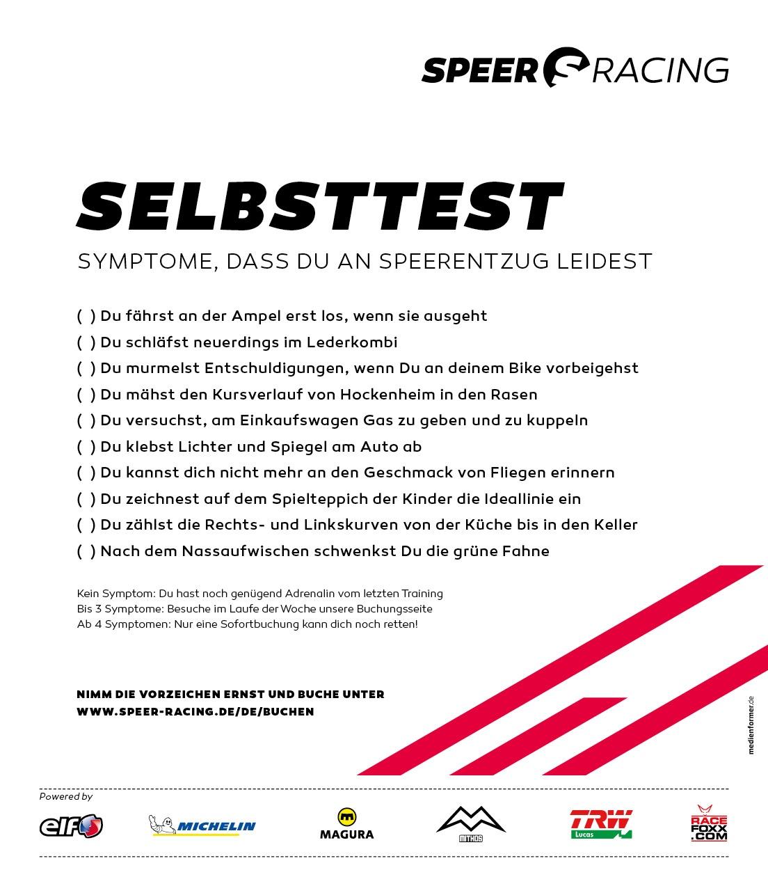 Speer Racing Selbststest