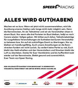 Speer Racing Aufruf
