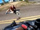 Alter Mann springt vor's Motorrad, Crash, Diebstahl - WTF