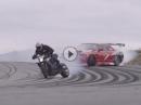 Auto vs Motorrad - Vollgas Quertreibing bei max. Profilabrieb