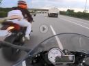 Autobahn, durchgeladen, Bremslichter, Save - Crash knapp verhindert