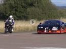 BMW S1000RR vs. Bugatti Veyron Vitesse - oben raus wirds eng für Bayern