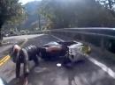 Böser Motorrad Crash: In den Gegenverkehr gerutscht KEINE Chance