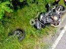 Brutaler Crash: Kurve ausgegangen, Leitplanke, Gabel abgerissen, Fahrer OK!