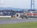 Cadalora vs. Bradl Misano 1991 250ccm. Kontaktsport auf der Ziellinie