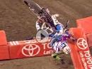 Crash Überschlag Mellross über Lenker und Bande beim Supercross