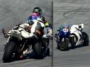 Crash kurios! Motoräder verhaken sich, Streckenposten hilflos