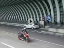 Ducati 848 mit Arrow, Tunnelsoundcheck in Italien