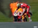 Ducati von Chaz Davies fackelt ab. Donington SBK-WM 2016 Freies Training