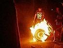 Motorrad Fire Burnout und Reifenwechsel mal anders