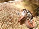 Fuck! Yamaha Crash, Hinterrad weg, Abhang runter, Fahrer ok!
