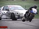 Geile Driftshow: Kawasaki ER-6n vs Nissan 200SX S13 - Quer geht mehr!
