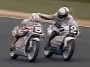 Hans Spaans Faustschlag 1990 gegen Fausto Gresini während dem Rennen
