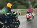 Hergebrannt: Vespa vs. Kawasaki Z800