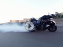 Highspeed Burnout, Wheelie. Hayabusa Spielchen auf dem Highway