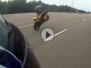 Highspeed Wheelie Crash: Nur Haut auf dem Asphalt verteilt