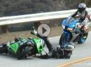 Kawasaki Crash und geiler Save / Reaktion des Honda Fahrers