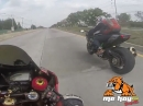 Kawasaki Ninja H2 vs Honda CBR1000RR on Street Speeding