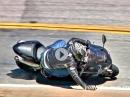 Kawasaki ZX-10R mit den Handflächen gebremst - Snake Crash bergab