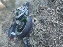 Kawasaki ZX6R Crash, Kurve ausgegangen? Dreck? Zu schnell?