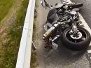 KTM Superduke Crash: Autobahn, Powerwheelie, Lenkerschlagen, Klamotten zerrissen