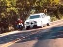 Kurve ausgegangen, knapp am Auto vorbei, Crash in die Botanik
