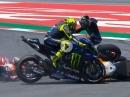 Lorenzo sorgt für Massen Crash in Barcelona: Valentino Rossi, Andrea Dovisioso, Maveric Vinales