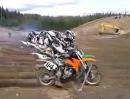 Motocross Startmaschine Crash - Start und Rennen schlagartig beendet