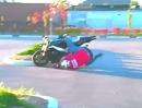 Motorrad Crash: Eigentlich war der Stunt durch, eigentlich - jetzt Schürfing