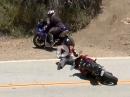 Motorrad Crash: Ein Motorrad kommt immer zum Herrchen zurück. 'Bei Fuß' Snake