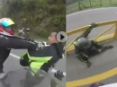 Motorrad Crash Gruppen ballern: Scheisse gebaut, abgeräumt, Haue bekommen