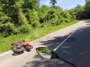 Motorrad Crash - Highsider wegen Dreck auf der Straße