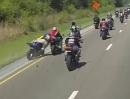Motorrad Crash Kolonnenfahrt. Da brauchts Disziplin sonst rappelts