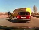 Motorrad Crash: Linksabbieger, zu schnell Frontalzusammstoß - Aufpassen