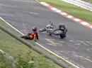 Crash Nürburgring Nordschleife. Zu schnell, zu nass = Euter verkratzt