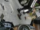 Motorrad Crash. Streetsurfing, Auto gesehen, Schreckbremsung, Yamaha R6 Schrott