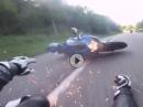 Motorrad Crash Suzuki: Gripabriß und Funkenflug macht die meisten Fahrer klug