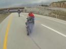 Motorrad Higshpeed Burnout - Danger Zone wenn der Reifen dabei platzt