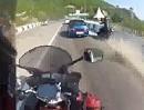 Motorrad vs Rechtsüberholen vs. Rollsplitt - eine hochbrisante Mischung: selbst schuld Ar*******