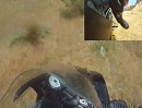 Motorrad Crash GSX-R 600: Kurve ausgegangen, quer über die Straße und ab ins Gelände