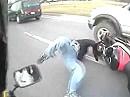 Motorradunfall Schreckbremsung und Abflug übers Vorderrad