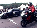 Porsche 911 Turbo (997) Switzer P750 vs. Suzuki Hayabusa GSX1300R Dragracing
