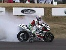 Rolling Burnout Aaron Slight, Honda RC45 - Goodwood