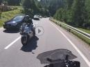 Schrecksekunde im Gegegverkehr am Maloja Pass