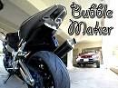 Seifenblasen Maschine am Motorrad - geplant ein Wattebällchen Katapult