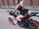 Sexy Bomber Babe Tanja Haapanen - KTM RC390