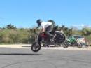 Stuntriding Präzisionsarbeit Driften, Stoppie - Romain Jeandrot beim Training