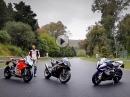 BMW S1000RR M vs Aprilia RSV4 1100 vs Ducati Panigale V4S Superbike shootout 2019 by MCN